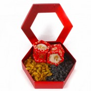 Assorted flavour Raisin Gift Box with 2 Tulsi Pot Earthen Diya