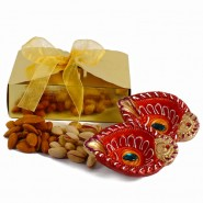 Diwali Hamper of Assorted Dryfruit Box with Earthen Diya