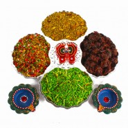 Diwali Mukhwas Hamper with Earthen Diyas and Shubh Pagla