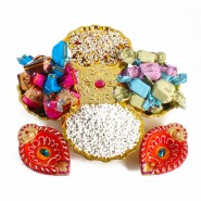 Diwali Mukhwas Imported Chocolates Hamper with Earthen Diyas
