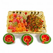 Diwali Mukhwas Tray with Jelly Candy Included Earthen Diyas