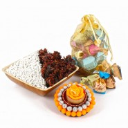 Imported Toffees Potli with Mukhwas Bowl and Floating Diya For Diwali
