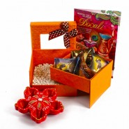 Double Decker Box of Mukhwas Dates Chocolate with Earthen Diya and Greeting Card