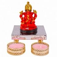 Sidddhivinayak Ganesh idol with 2 Designer Diya