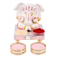 Charming Ganesha Idol with Tea Light Diya