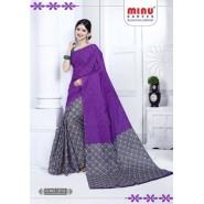 voilet cotton printed saree