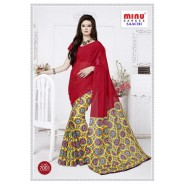 Redcotton printed saree