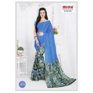 Bluecotton printed saree