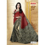 Red & BlackCotton PrintedSarees