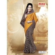 Yellow & BrownCotton PrintedSarees