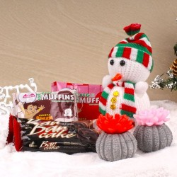 Snowman with Floral Candles...