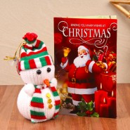 Cute Snow Men with Christmas Greeting Card^soft toys^christmas softoys^xmas softtoys^christmas^xmas