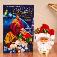 Musical Santa Face Bell with Christmas Greeting Card^soft toys^christmas softoys^xmas softtoys^christmas^xmas