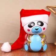 Jelly Panda With Santa Cap^soft toys^christmas softoys^xmas softtoys^christmas^xmas