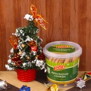Artificial Christmas Tree with Pista Badam Cookies