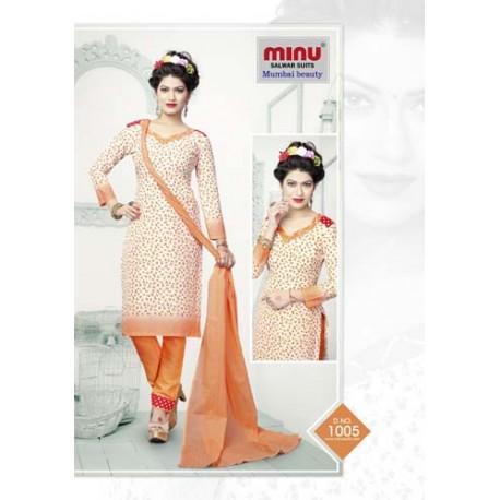 Orange Printed cotton salwar
