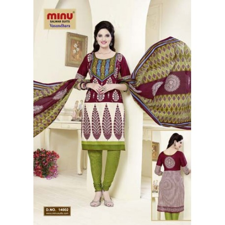 Marron & Beige Printed Cotton Salwar