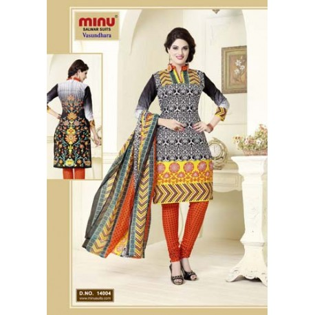 Black & Cream Printed Cotton Salwar