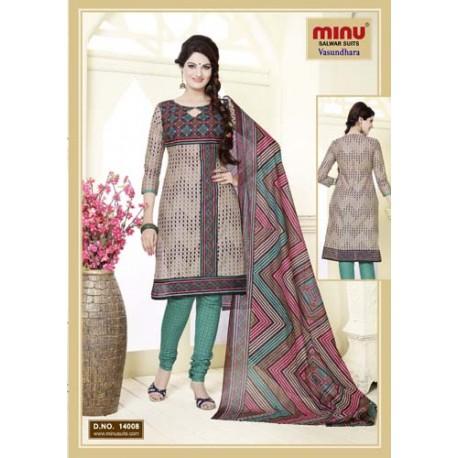 Light Khaki Printed Cotton Salwar