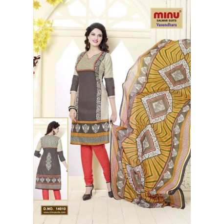 Almond Grey Printed Cotton Salwar