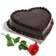 Heart Shape Chocolate Truffle Cake with Single Red Rose