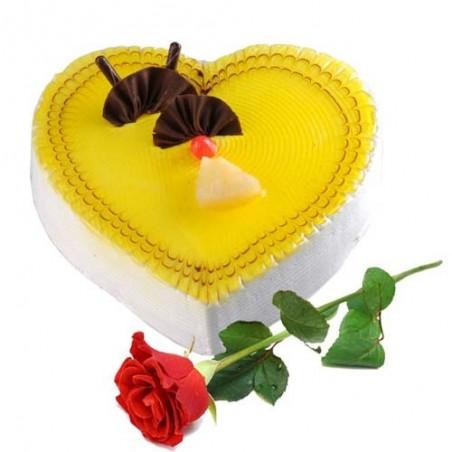 Single Rose with Heart Shape Pineapple Cake