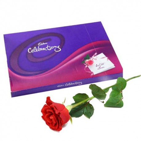 Cadbury Celebration Chocolate Pack with Single Red Rose