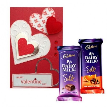 Valentine Greeting Card with Cadbury Silk Chocolate