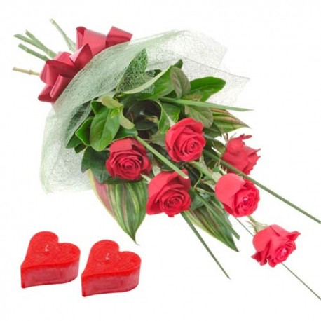 Valentine Candles and Six Red Roses Bouquet