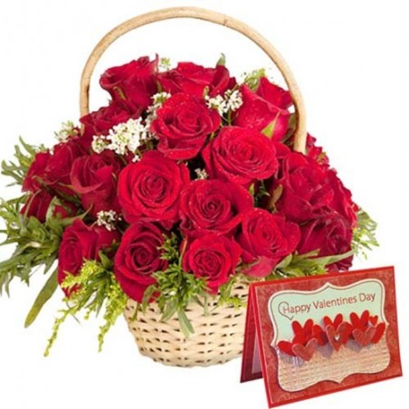 Roses Arrangement with Valentine Greeting Card