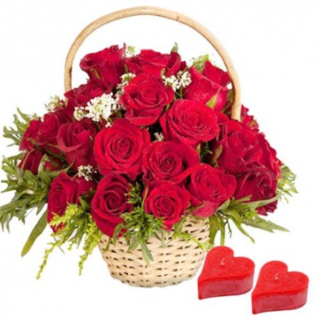 Red Roses Arrangement with Valentine Candles