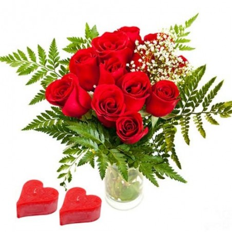 Red Roses in a Vase with Candles on Valentine