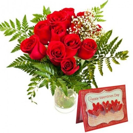 Red Roses in a Vase with Valentine Greeting Card