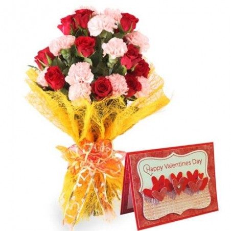 Bouquet of Roses and Carnation with Valentine Greeting Card