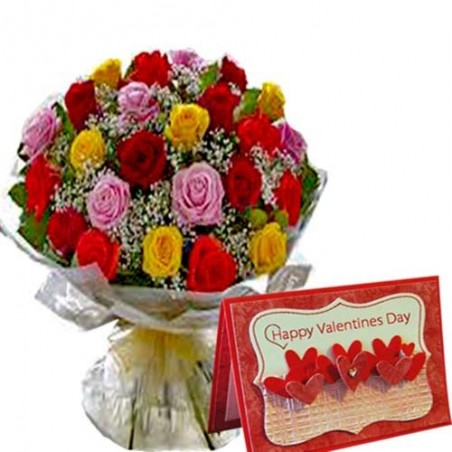 Bouquet of Mix Roses with Valentines Greeting Card