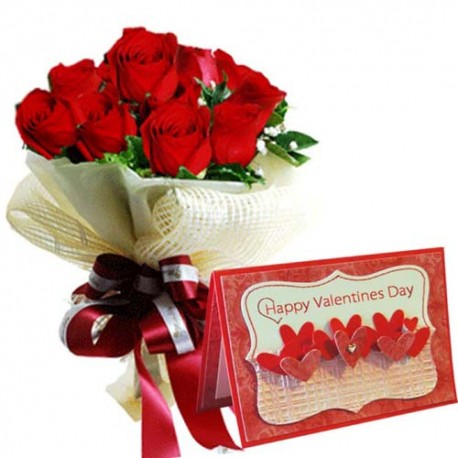 Exclusive Roses Bouquet with Valentine Card