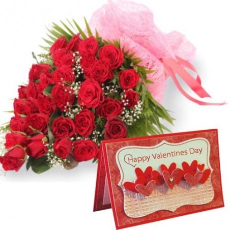 Bouquet of Thirty Red Roses with Valentine Greeting Card