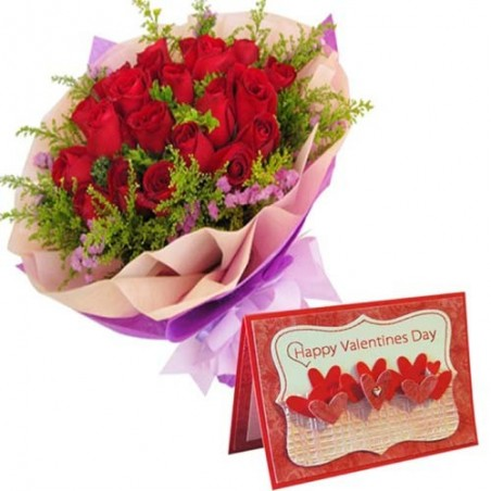 Valentine Greeting Card with Red Roses Bouquet