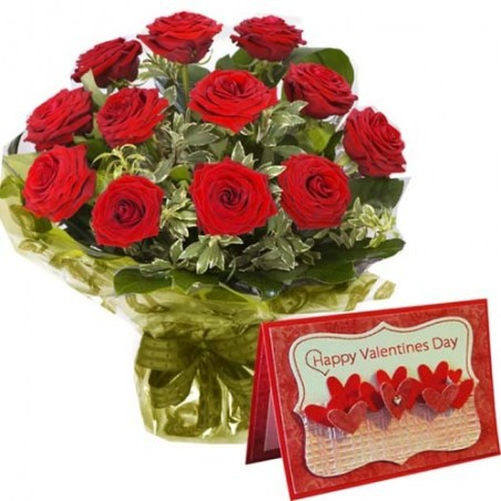 Bouquet of Twelve Red Roses with Valentine Greeting Card