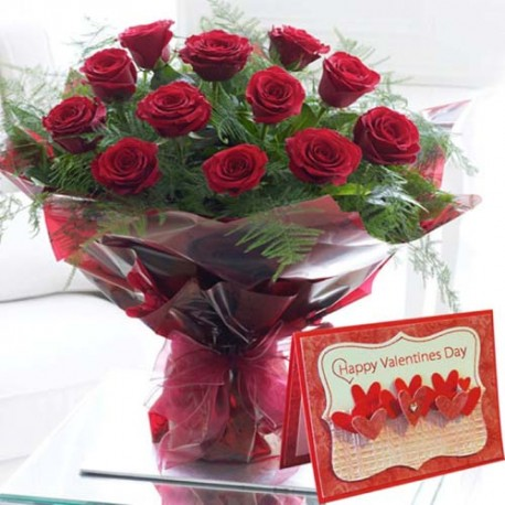 Valentine Card with Red Roses Bouquet