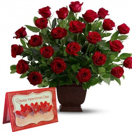 Red Roses Arrangement with Valentine Greeting Card