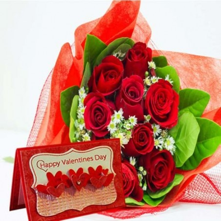 Valentine Wishes Card With Red Roses