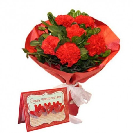 Carnation Bouquet with Valentine Wishes Card