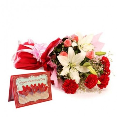 Exotic Flower Bouquet with Valentine Wishes Card