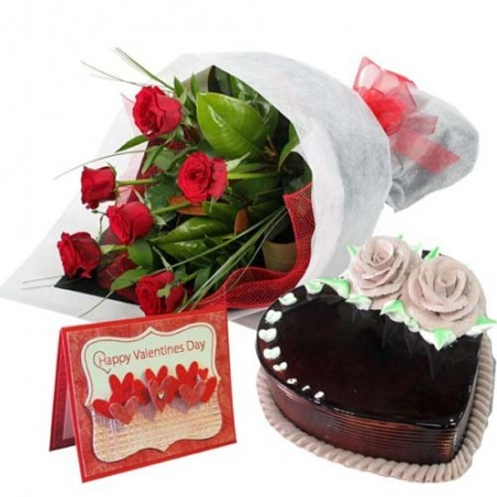 Heart Shape Chocolate Cake with Roses Bouquet and Valentine Card
