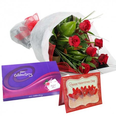Roses Bouquet with Cadbury Celebration Chocolate and Valentine Greeting Card