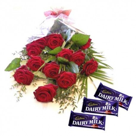 Cadbury Dairy Milk Chocolate with Red Roses Bouquet