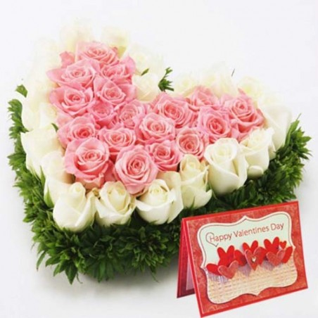 Pink and White Roses Heart with Valentine Greeting Card