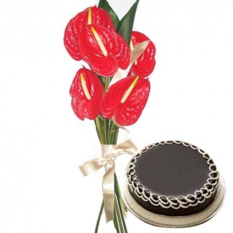 Anthurium Bouquet with Chocolate Cake