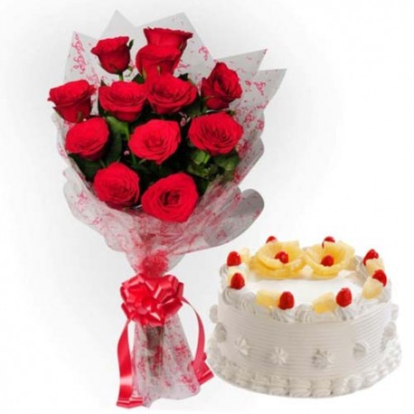 Juicy Pineapple Feast With Twelve Red Roses Bouquet